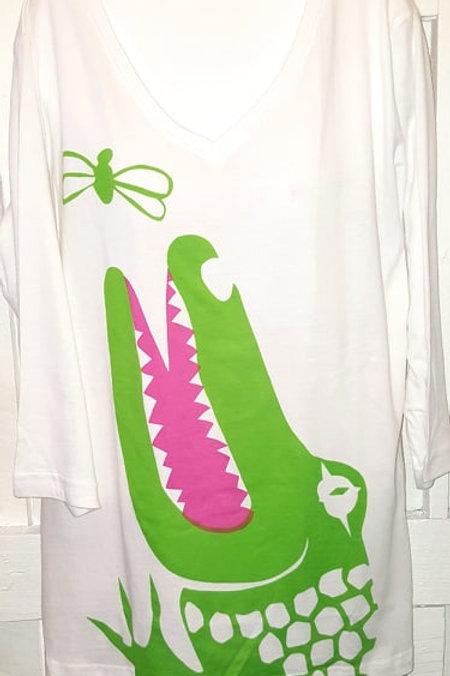 Gator Biting Alligator in White