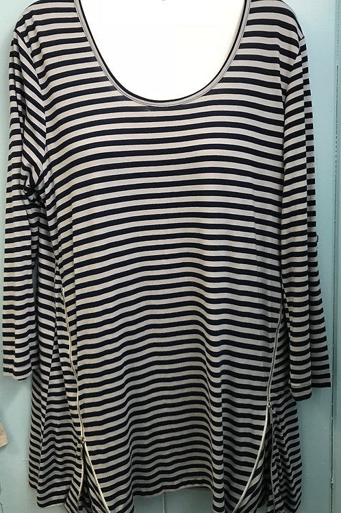 Harbor Stripe Zip Up Tunic In Navy