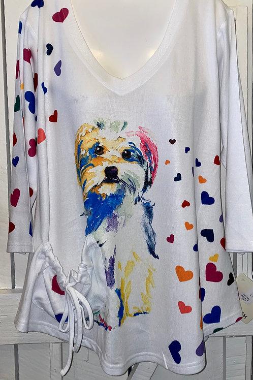 Dog Heart Pocket Tunic in White