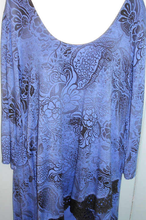 Paisley Print Tunic W/ Embroidery In Peri