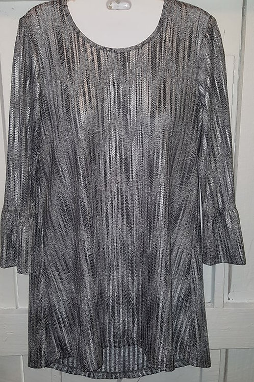 Metallic Bell Sleeve Blouse in Silver