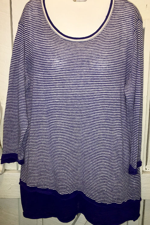 Stripe Sweater with Asymmetrical Hem in Navy & White