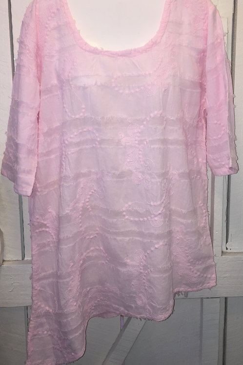 Eyelash Embroidery with Diagonal Hem in Pink