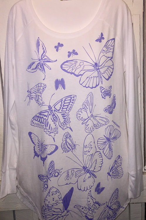 Periwinkle Butterflies Tunic Tee in White