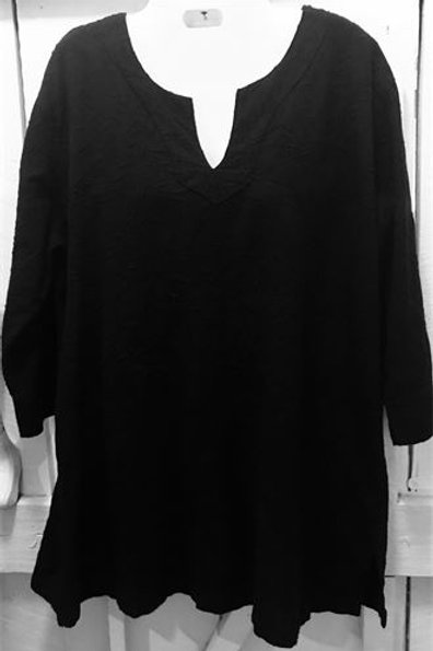V-Notch Neck Gauze Embroidered Pullover In Black