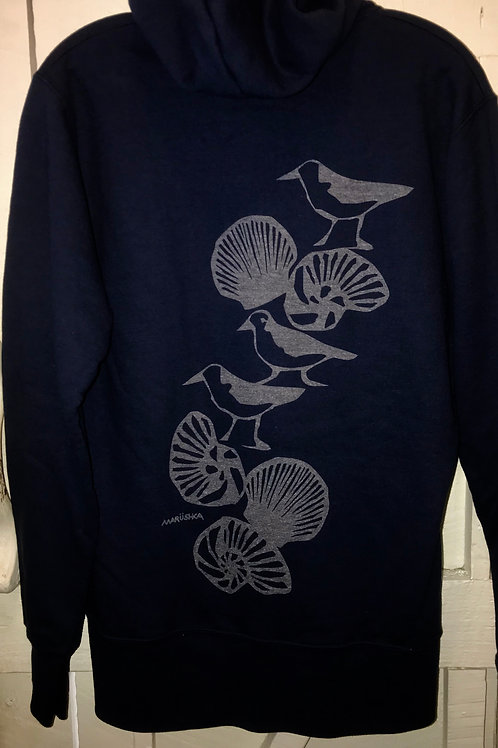 Seagull Shell Trail Zip Up Hoodie in Navy