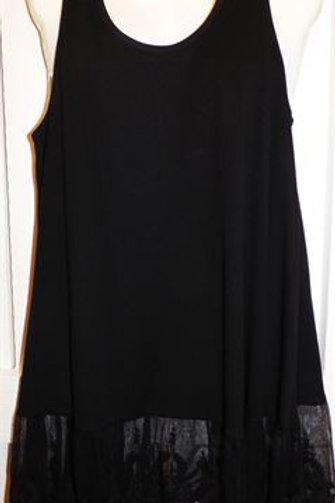Ribbed Laced Tank in Black