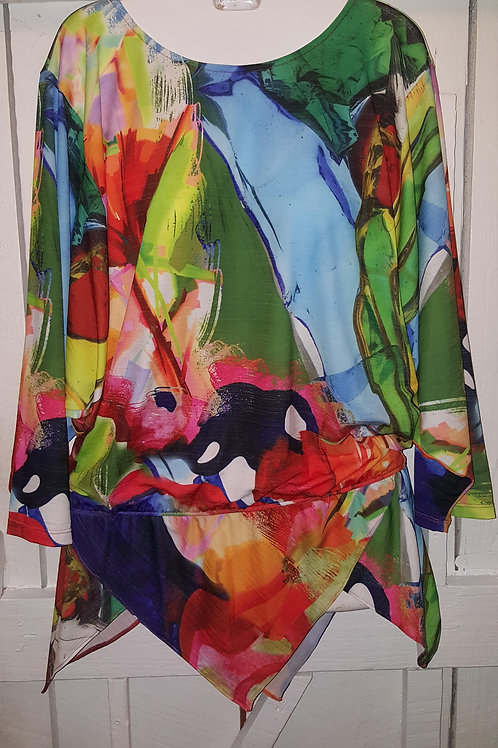 Multi Color Pinched Waist Blouse