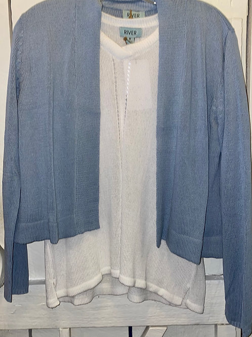Knit Short Sweater in Blue