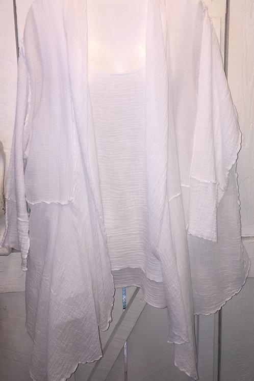 Bubble Gauze Raw Edge Cardigan in White