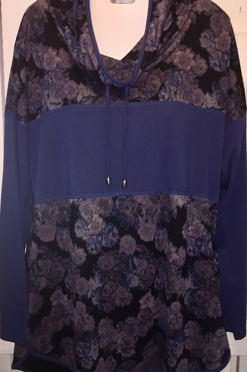 Floral Cowl Neck Tunic/Hoodie in Denim