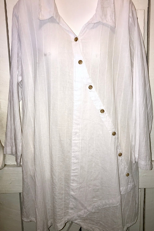 Pleated Tunic with Side Swoop Buttons in White