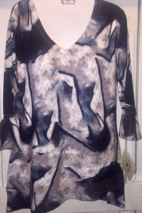 Abstract Shimmer Blouse in Black