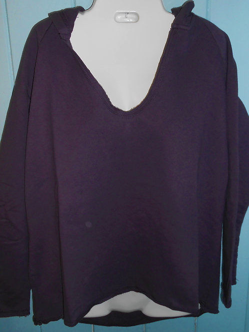 French Terry Hi-Lo Pullover In Plum