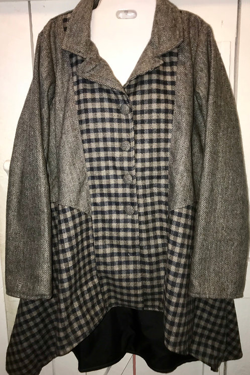 Plaid Mix Button up Jacket in Grey