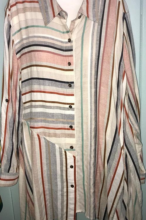 Striped Zig Zap Button Up in Multi Color