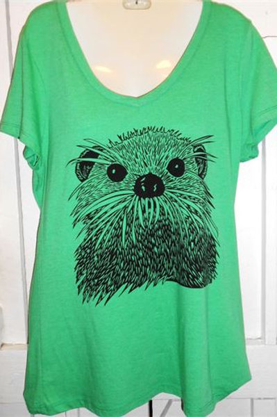 Otter Face In Green