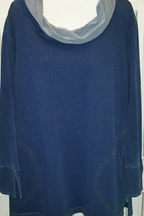 Cowl Neck Tunic in Denim