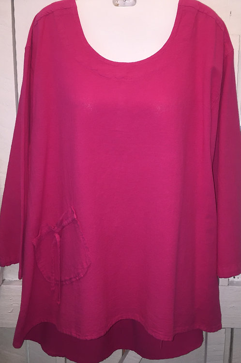 Bow Tie Pocket Blouse in Hot Pink