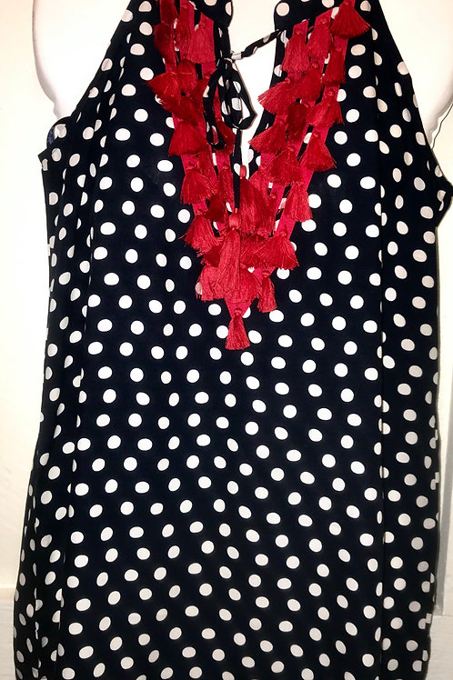 Arin Polka Dot Tank Top in Navy & White