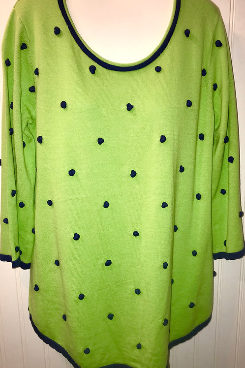 Fuzzy Ball Sweater in Lime/Navy