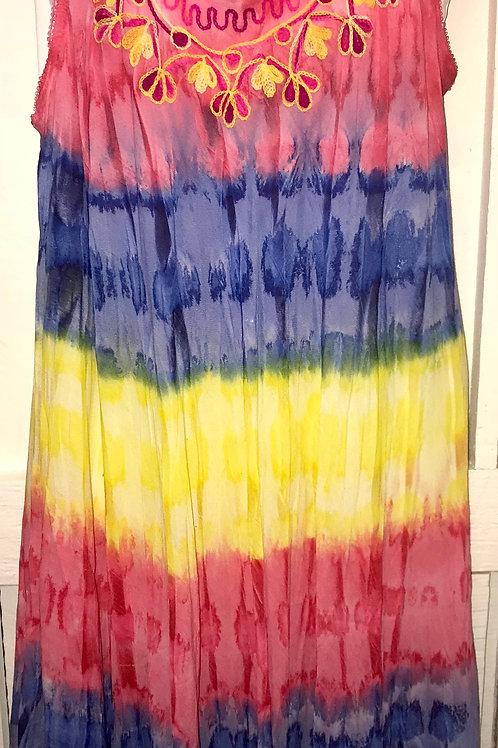 Tye Dye Dress in Red & Yellow