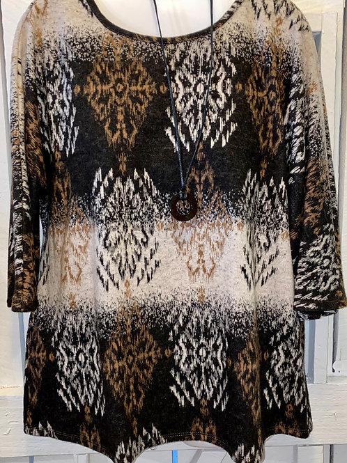 Diamond Pattern Tunic in Cognac/Black