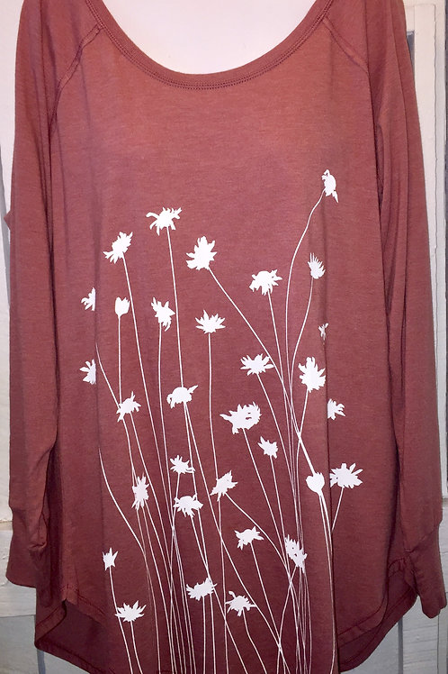 Daisy Wild Flowers Tunic Tee in Rose Pink