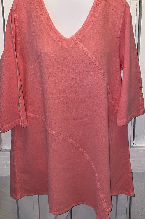 Tiny Button Sleeve Tunic in Guava