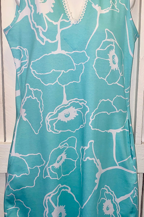 Layton Tank Dress in Aqua Meadows