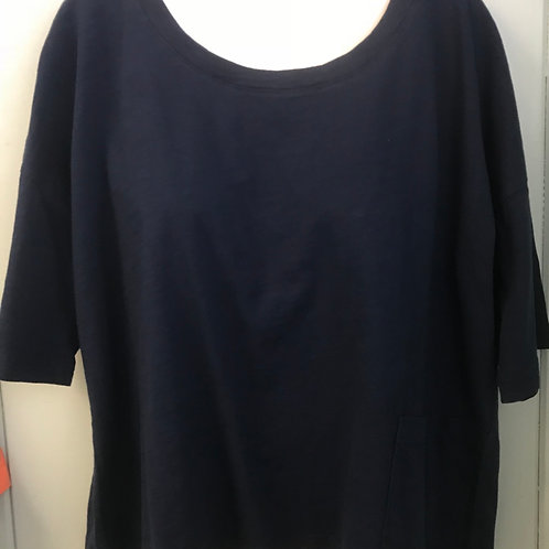 Slub Cropped Top In Navy
