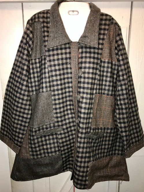 Grey & Brown Plaid Button up Jacket in Grey Patch