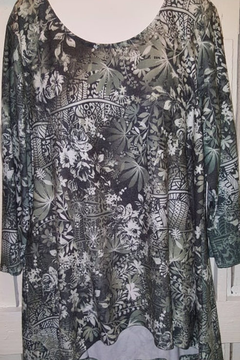 Abstract Floral Hi-Lo Blouse in Moss