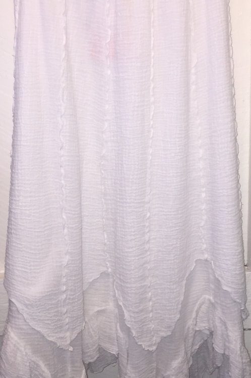 Bubble Gauze Double Layer Skirt in White