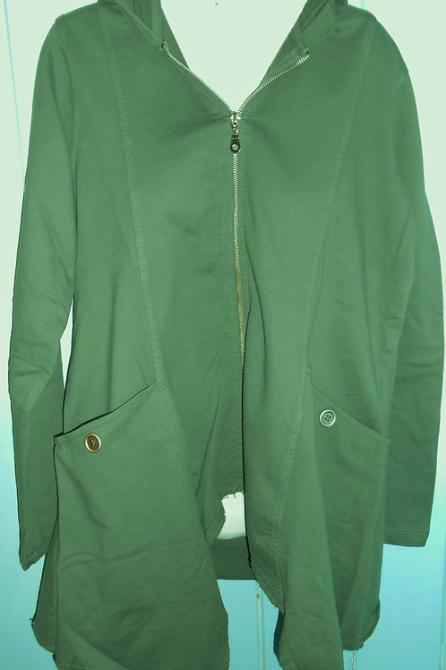 French Terry Asymmetrical Zip-Up Hooded Jacket In Olive