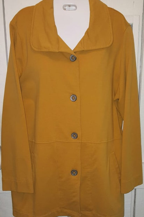 French Terry Button Up Jacket in Gold