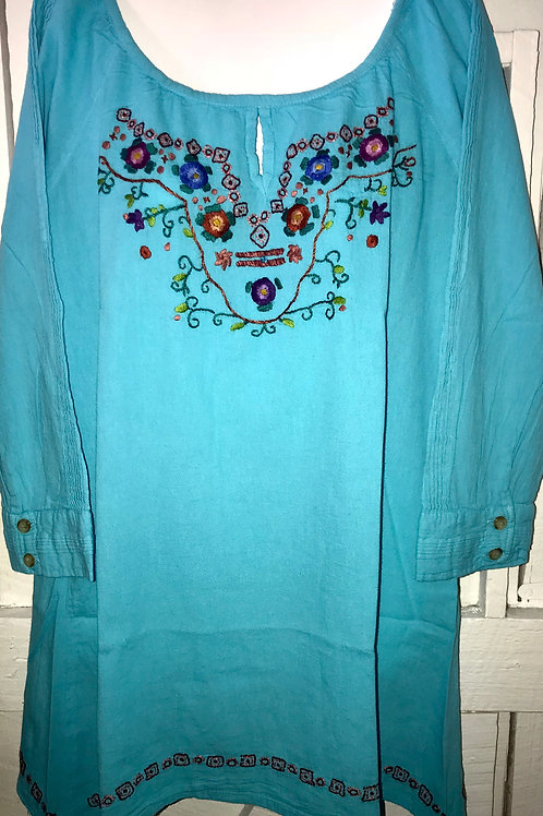 Embroidered Flower Key Hole Blouse In Blue