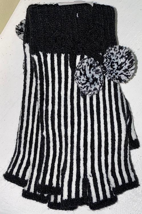 Fingerless Pom Pom Gloves in Black