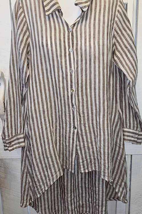 Hi-Lo Linen Striped Button Up in Taupe