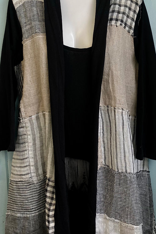 Linen Patches Cardigan in Black