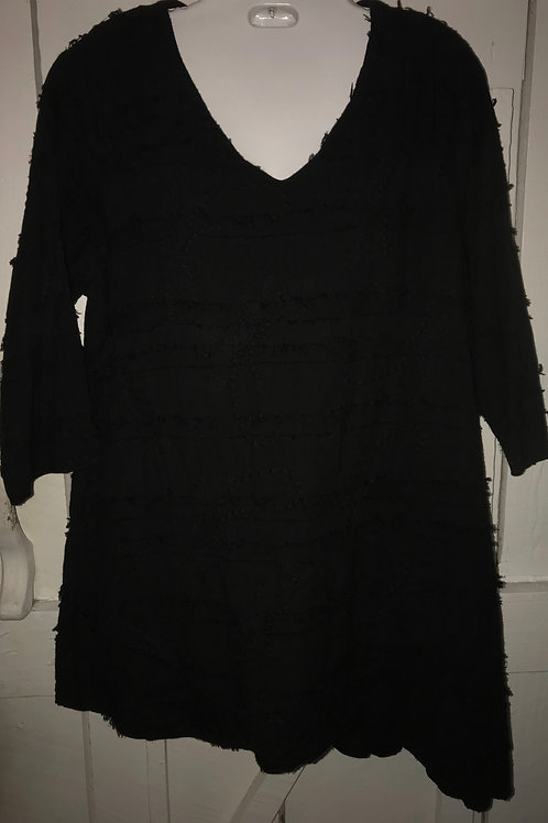 Eyelash tunic in black
