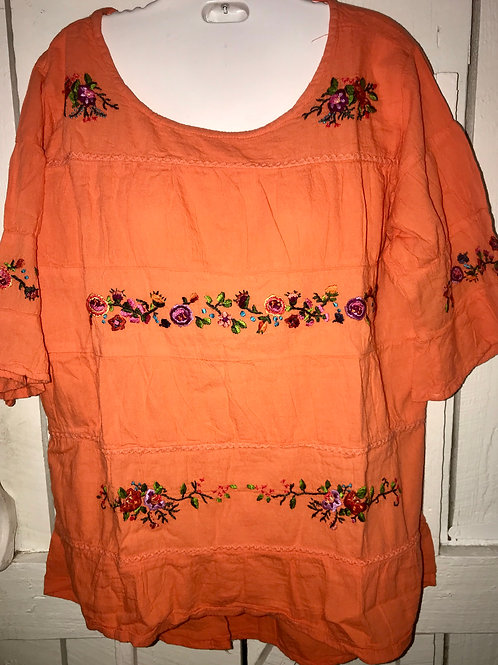 Embroidered Flower Blouse with Ruffles in Orange