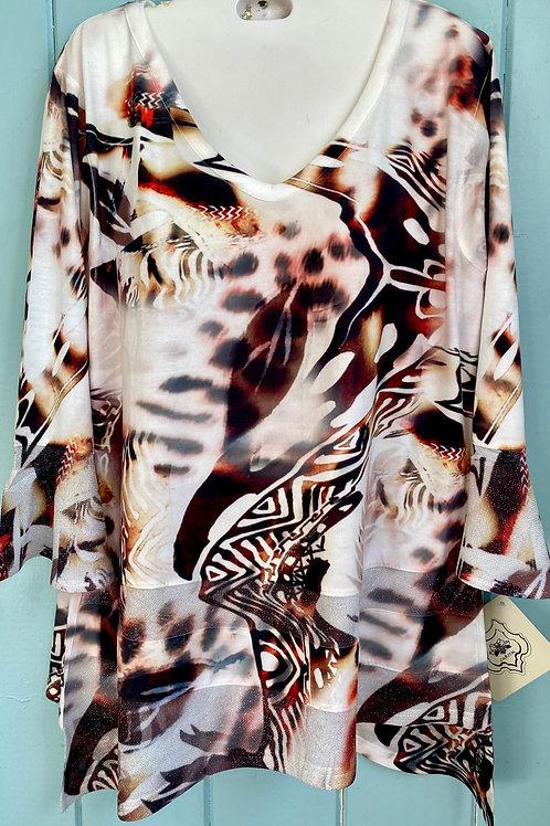 Animal Print Shimmer Blouse in White