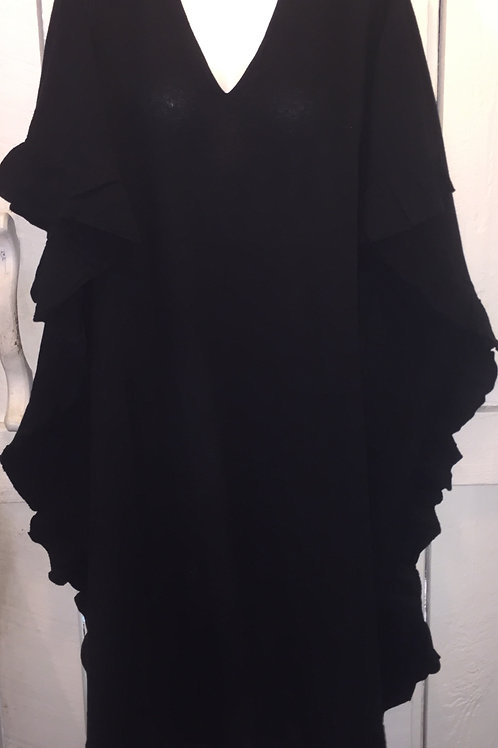 Gauze Short Ruffle Cover Up in Black