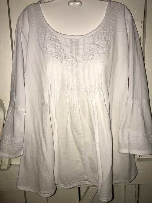 Embroidered Pleated Bell Sleeve Blouse in White