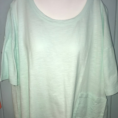 1/2 Sleeve Cropped Slub Top in Mint