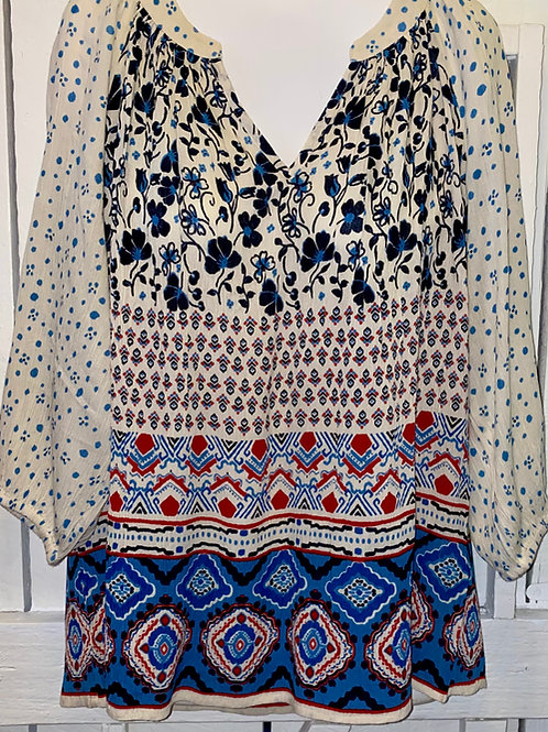 Mixed Floral Top in Cream & Navy