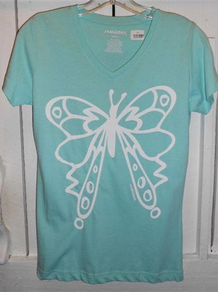 Butterfly Short Sleeve V-Neck Tee in Seafoam
