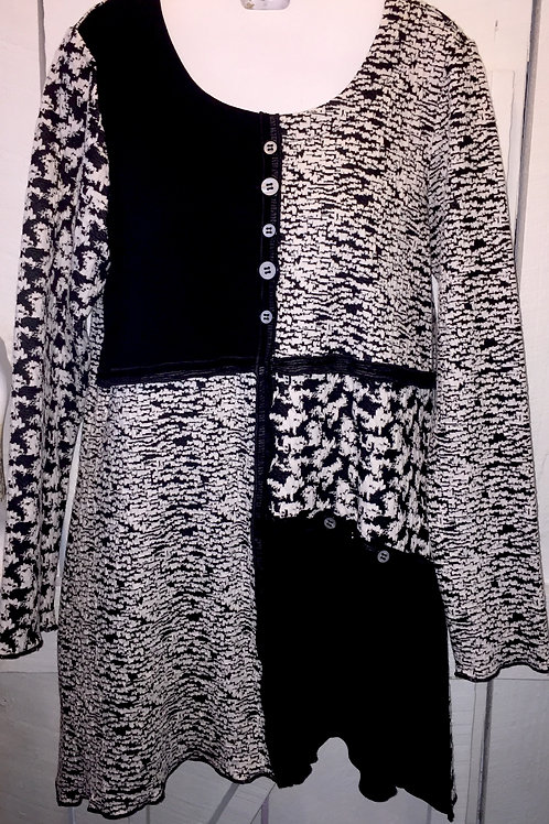 Abstract Squares Tunic in Black & White
