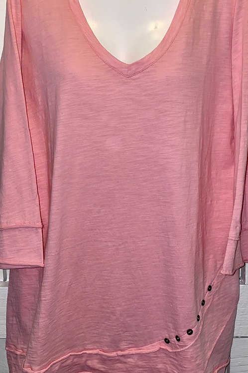 Side Button Tunic in Blush